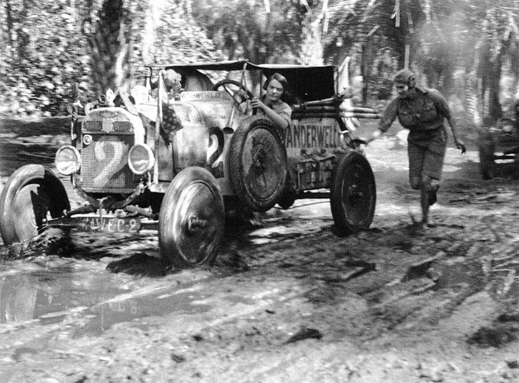 Pushing Wanderwell Model-T out of Mud